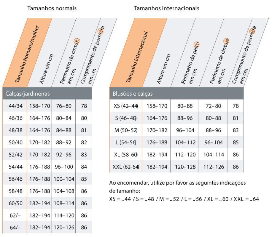 Tabela de Medidas - Vestuário 2