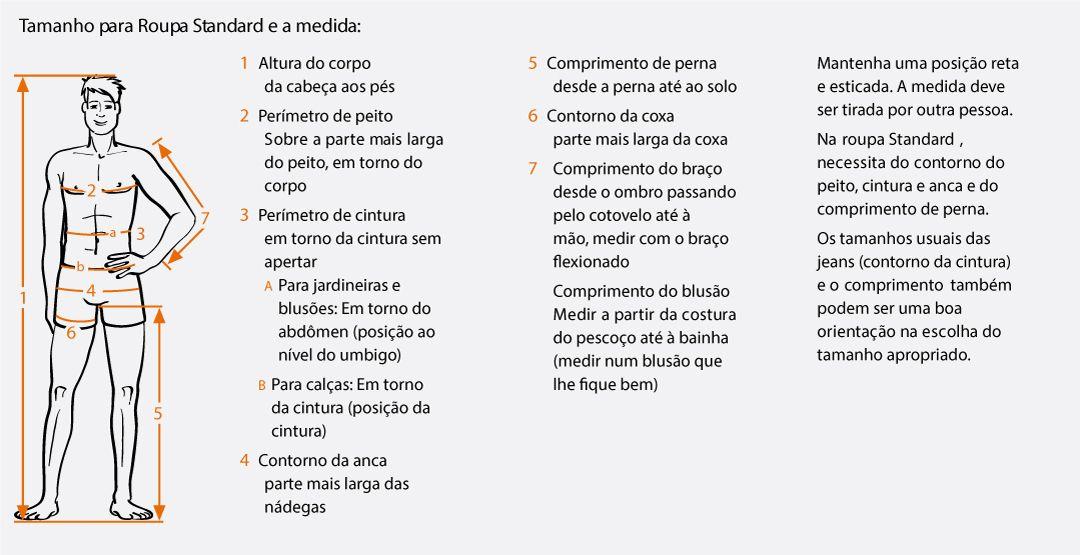 Tabela de Medidas - Vestuário 1